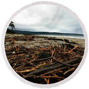 Wild Beach New Zealand Round Beach Towel