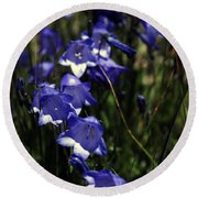 Wild Blue Bells Round Beach Towel