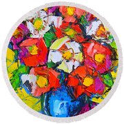 Wild Colorful Flowers Round Beach Towel