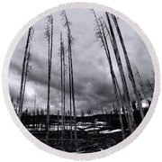 Wild Fire Aftermath In Black And White Round Beach Towel
