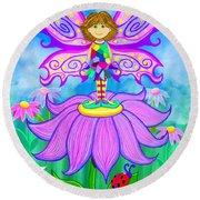 Wild Flower Fairy  Round Beach Towel