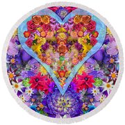 Wild Flower Heart Round Beach Towel by Alixandra Mullins
