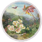 Wild Flowers And Butterfly Round Beach Towel by Jean Marie Reignier