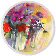 Wild Flowers Bouquets 02 Round Beach Towel