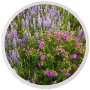 Wild Flowers Display Round Beach Towel
