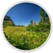 Wild Flowers Glacier National Paintedpark   Round Beach Towel