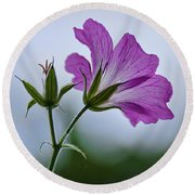 Wild Geraniums Round Beach Towel