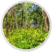 Wild Ginger And Ohia Trees Round Beach Towel