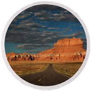 Wild Horse Butte And Road Goblin Valley Utah Round Beach Towel
