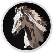 Wild Horse With Hidden Pictures Round Beach Towel