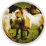 Wild Horses In California Series 14 Round Beach Towel