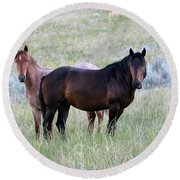 Wild Horses In The Badlands Round Beach Towel