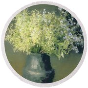 Wild Lilacs And Forget Me Nots Round Beach Towel by Isaak Ilyich Levitan