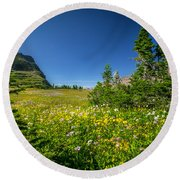 Wild Mountain Flowers Glacier National Park   Round Beach Towel