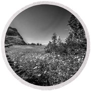 Wild Mountain Flowers Glacier National Park Round Beach Towel