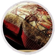 Wild Mustangs On A Quilt Round Beach Towel by Barbara Griffin