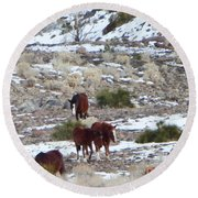 Wild Nevada Mustangs 2 Round Beach Towel