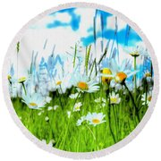 Wild Ones - Daisy Meadow Round Beach Towel