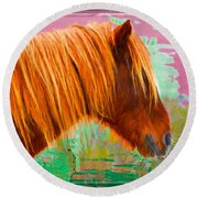 Wild Pony Abstract Round Beach Towel