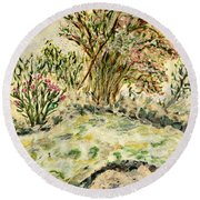Wild Rhododendrons Near The River Round Beach Towel