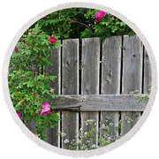 Wild Roses And Weathered Fence Round Beach Towel