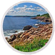 Wild Roses At Lakies Head In Cape Breton Highlands Np-ns Round Beach Towel