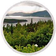 Wild Roses At Photographer's Point Overlooking Bonne Bay In Gros Morne Np-nl Round Beach Towel