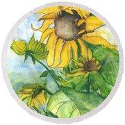 Wild Sunflowers Round Beach Towel by Sherry Harradence