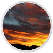 Wild Sunrise Over The Mountains Round Beach Towel