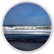 Wild Surf At Seaside Beach Round Beach Towel