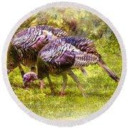 Wild Turkey Hens Round Beach Towel by Barry Jones