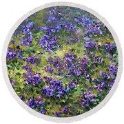 Wild Violets  Round Beach Towel
