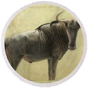 Wildebeest Round Beach Towel by James W Johnson