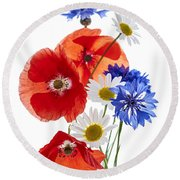 Wildflower Arrangement Round Beach Towel