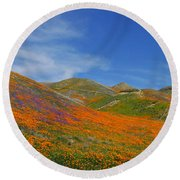 Wildflower Extravaganza  Round Beach Towel