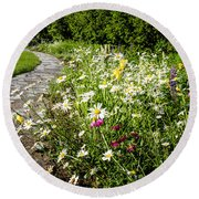 Wildflower Garden And Path To Gazebo Round Beach Towel
