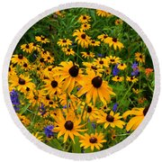 Wildflower Gold Round Beach Towel