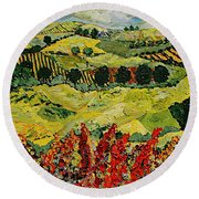 Wildflower Jungle Round Beach Towel
