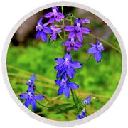 Wildflower Larkspur Round Beach Towel
