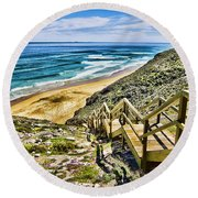 Wildflower Steps V2 Round Beach Towel