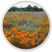 Wildflower Wonderland Round Beach Towel