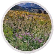 Wildflowers And Mountains  Round Beach Towel