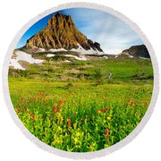 Wildflowers At Logan Pass Round Beach Towel