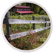 Wildflowers At The Fence Round Beach Towel