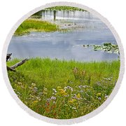 Wildflowers By Heron Pond In Grand Teton National Park-wyoming Round Beach Towel