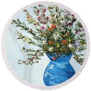 Wildflowers In A Blue Vase Round Beach Towel
