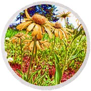 Wildflowers In The Wilds Of Colorado Round Beach Towel