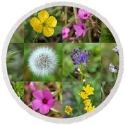 Wildflowers Mosaic Round Beach Towel