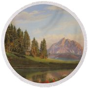 Wildflowers Mountains River Western Original Western Landscape Oil Painting Round Beach Towel