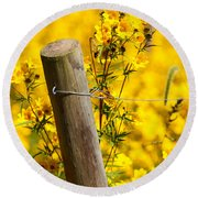 Wildflowers On Fence Post Round Beach Towel